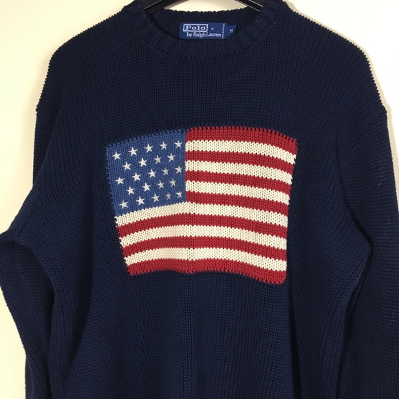 ab04d00ea09a59 Vintage Polo Ralph Lauren Flag Sweater blue navy M.  M_5a39a3ff61ca10c46b020891